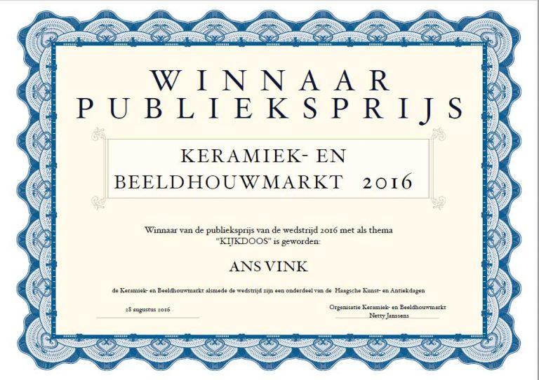 Winnaar publieksprijs augustus 2016 Keramiekmarkt Den Haag